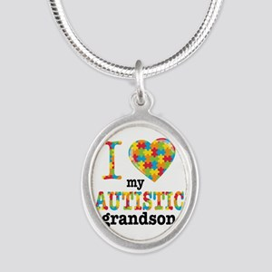 Autistic Grandson Silver Oval Necklace