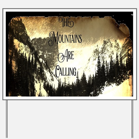 vintage mountains are calling Yard Sign