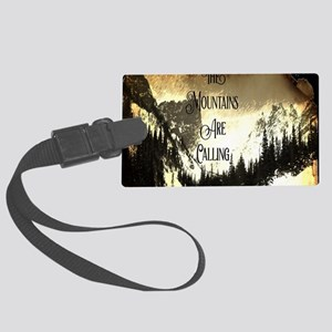 vintage mountains are calling Large Luggage Tag