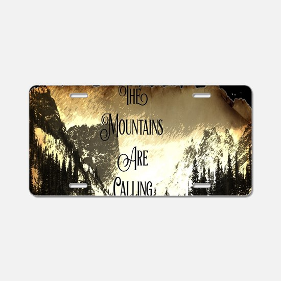 vintage mountains are calli Aluminum License Plate