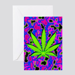 Psychedelic Pot Leaf Greeting Cards