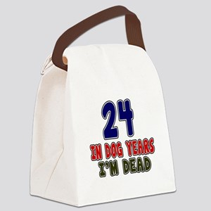 Funny 24 Years Birthday Designs Canvas Lunch Bag
