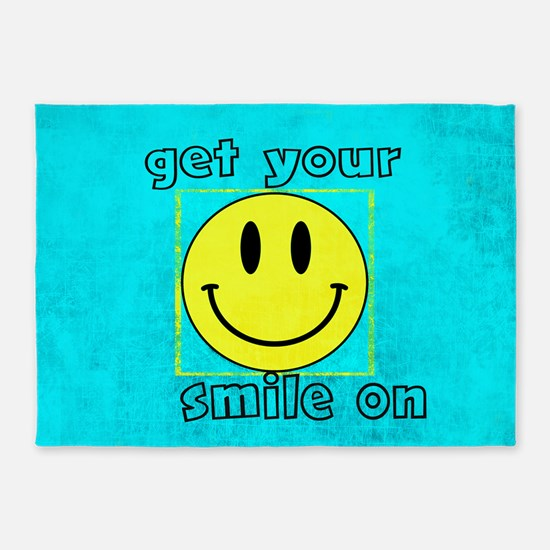 smiley says GET YOUR SMILE ON 5'x7'Area Rug