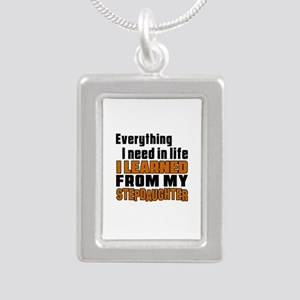 I Learned From My Stepda Silver Portrait Necklace