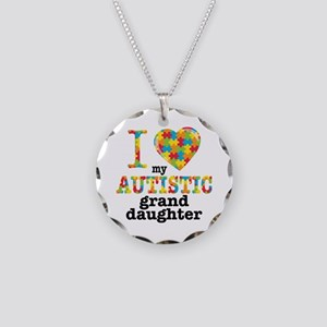 Autistic Granddaughter Necklace Circle Charm