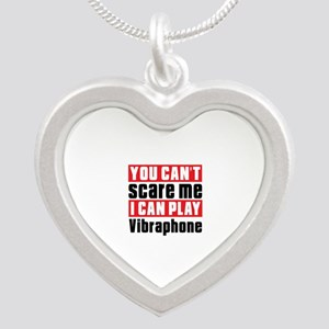 I Can Play Vibraphone Silver Heart Necklace
