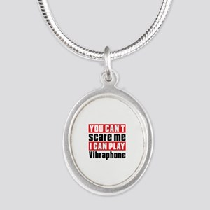 I Can Play Vibraphone Silver Oval Necklace
