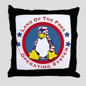 Tux - Land of the Free Throw Pillow