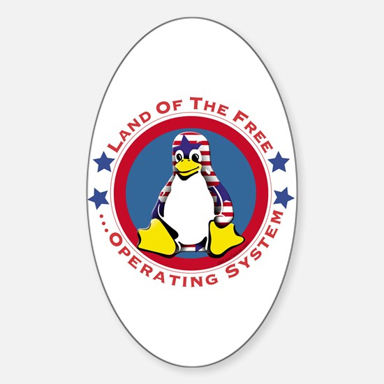 Tux - Land of the Free Oval Decal