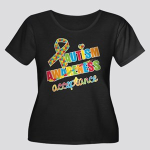 Autism A Women's Plus Size Scoop Neck Dark T-Shirt