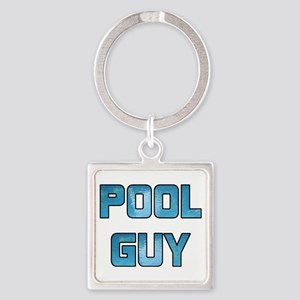 Pool Guy Square Keychain