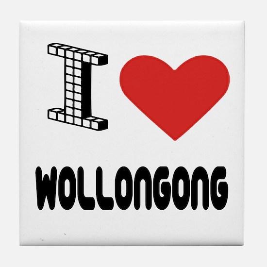 I Love Wollongong City Tile Coaster