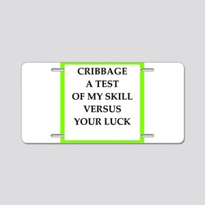 cribbage joke Aluminum License Plate