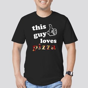 This guy loves pizza Men's Fitted T-Shirt (dark)