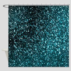 Cyan Glitter Shower Curtain