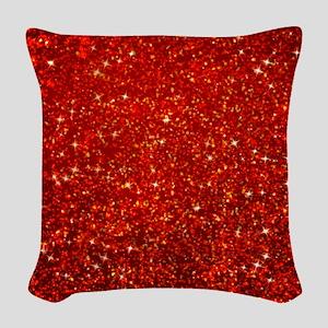 Red Glitter Woven Throw Pillow