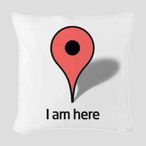 Google Map marker Woven Throw Pillow