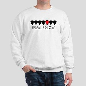 I'm Picky Black, White, and Red Guitar Sweatshirt