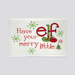Merry Elf Rectangle Magnet