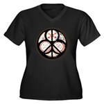 Jewish Peace Window Women's Plus Size V-Neck Dark