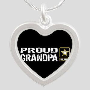 U.S. Army: Proud Grandpa (Bl Silver Heart Necklace