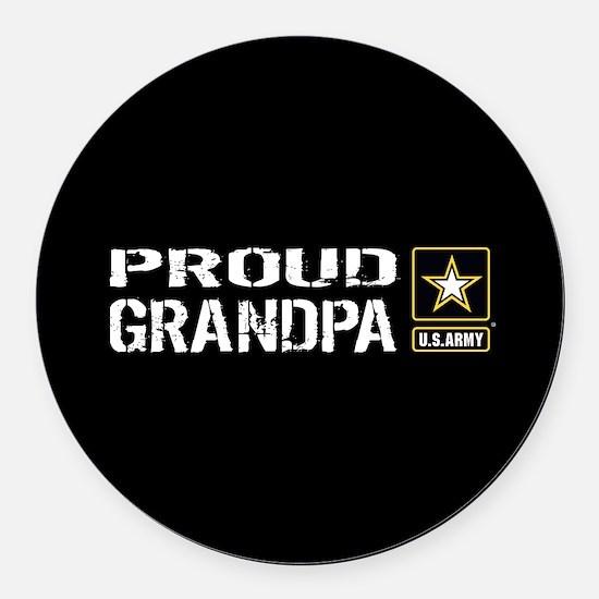 U.S. Army: Proud Grandpa (Black) Round Car Magnet