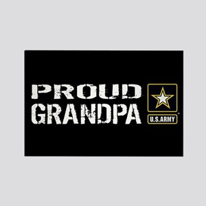 U.S. Army: Proud Grandpa (Black) Rectangle Magnet