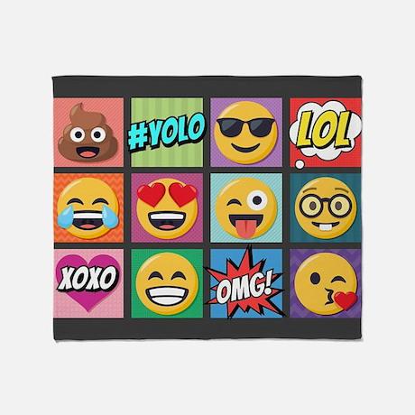 Emoji Collage Yolo Omg Lol Throw Blanket