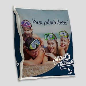 Custom Photo Nautical Burlap Throw Pillow