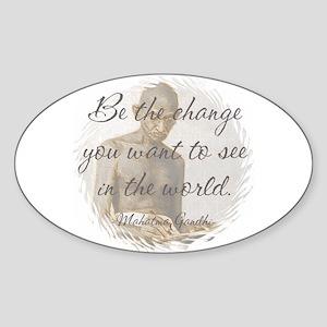 Mahatma Gandhi Quote Oval Sticker