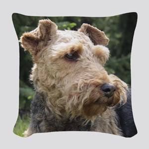 welsh terrier Woven Throw Pillow
