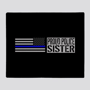 Police: Proud Sister (Black Flag Blu Throw Blanket