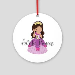 Autistic Princess Ethnic Round Ornament