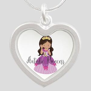 Autistic Princess Ethnic Silver Heart Necklace