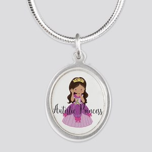 Autistic Princess Ethnic Silver Oval Necklace