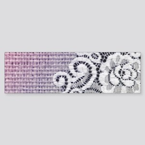 country chic purple burlap lace Bumper Sticker