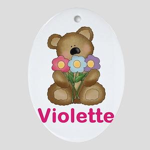 Violette's Bouquet Bear Oval Ornament