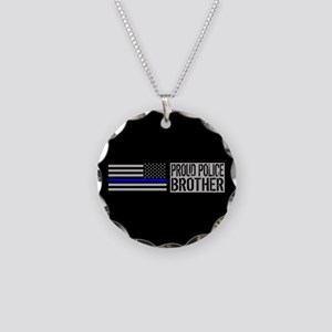 Police: Proud Brother (Black Necklace Circle Charm