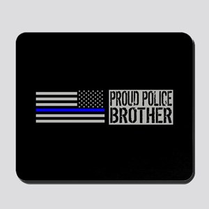 Police: Proud Brother (Black Flag Blue L Mousepad