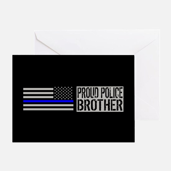 Police: Proud Brother (Black Flag Bl Greeting Card