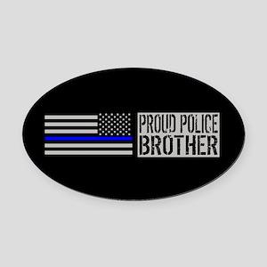 Police: Proud Brother (Black Flag Oval Car Magnet