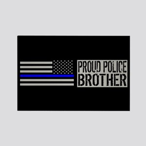 Police: Proud Brother (Black Flag Rectangle Magnet