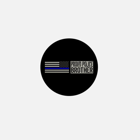 Police: Proud Brother (Black Flag Blue Mini Button