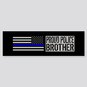 Police: Proud Brother (Black Flag Sticker (Bumper)