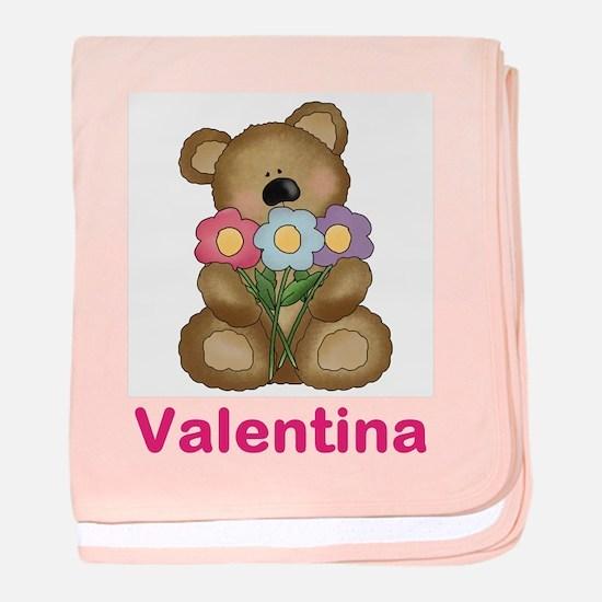 Valentina's Bouquet Bear baby blanket