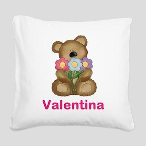 Valentina's Bouquet Bear Square Canvas Pillow
