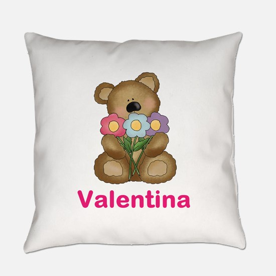 Valentina's Bouquet Bear Everyday Pillow