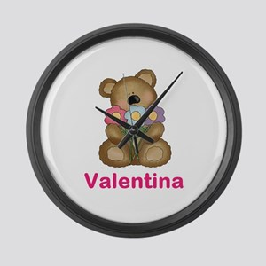 Valentina's Bouquet Bear Large Wall Clock