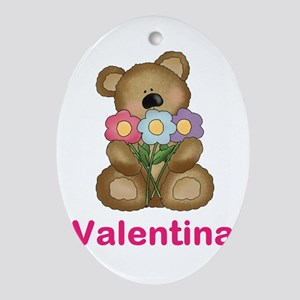 Valentina's Bouquet Bear Oval Ornament