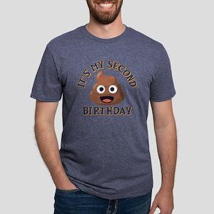 Poop Emoji Second Birthday Mens Tri-blend T-Shirt